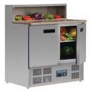 Mesa Refrigerada Preparación Pizzas Y Ensaladas Con Marmol Eco 900X700X1100h mm 2 puertas G603